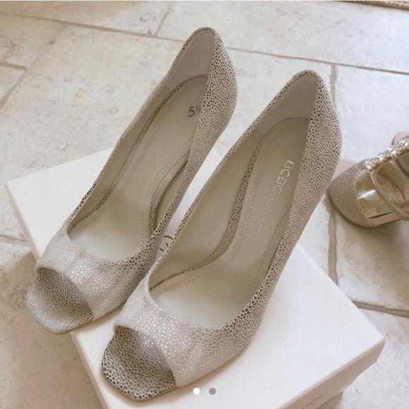 BCBG pebble print open toe heels